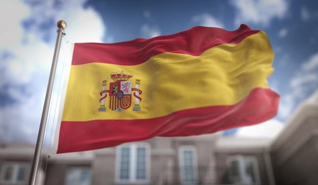 スペインの旗3dレンダリングの青空の建物の背景