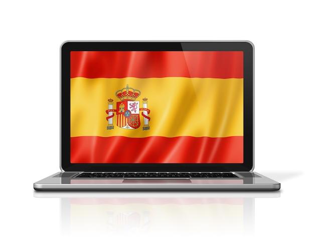Spain flag on laptop screen isolated on white. 3d illustration render.