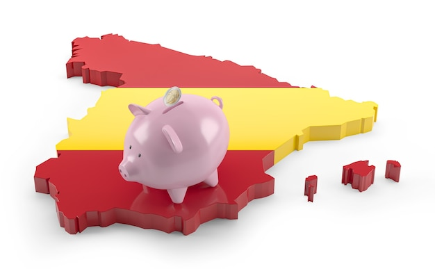 돼지 저금통에 스페인 국기 지도입니다. 3d 그림