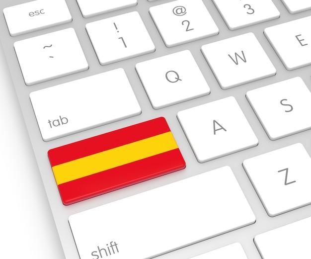 컴퓨터 키에 스페인 플래그입니다. 3d 렌더링