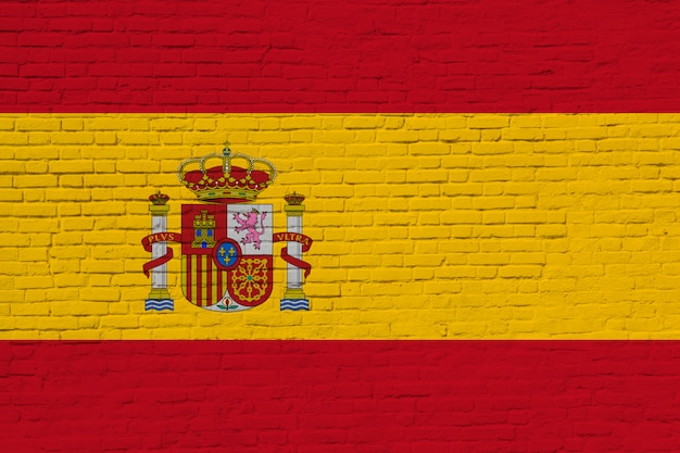 Spain flag painted on brick wall