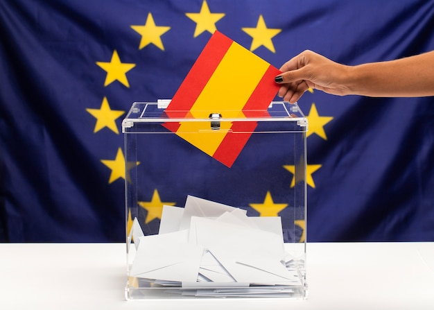 Spain flag vote bulletin on european union background