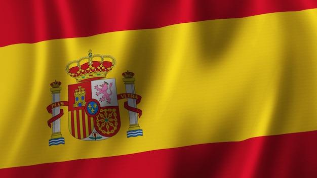 패브릭 질감으로 고품질 이미지로 근접 촬영 3d 렌더링을 흔들며 스페인 국기