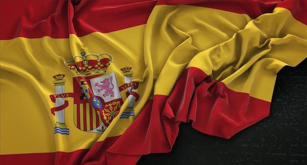 어두운 배경에 주름이 스페인 국기 3d 렌더링
