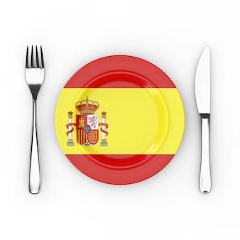 スペインの食べ物や料理のコンセプト。白い背景にスペインの旗とフォーク、ナイフ、プレート。 3dレンダリング