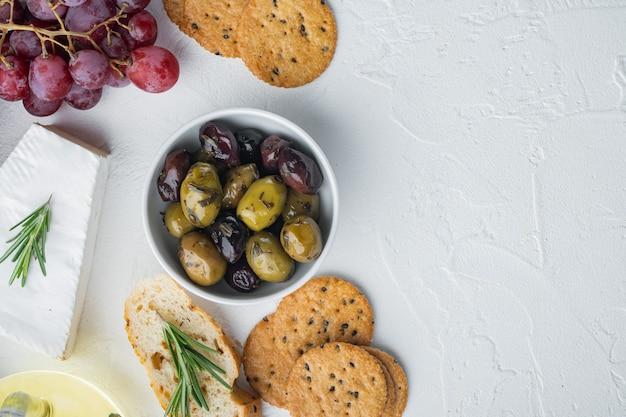 Spain olives fresh, on white, flat lay