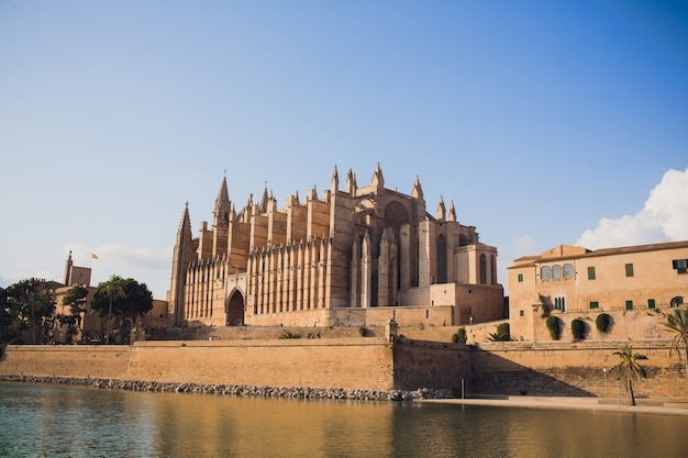 Spain palma de mallorca historic city center with view of the gothic cathedral la seu. balearic islands.