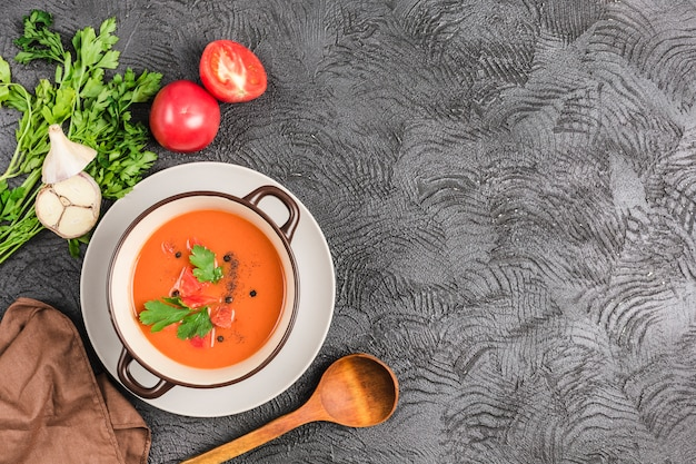 Spanish cold gazpacho soup with tomatoes and fresh herbs