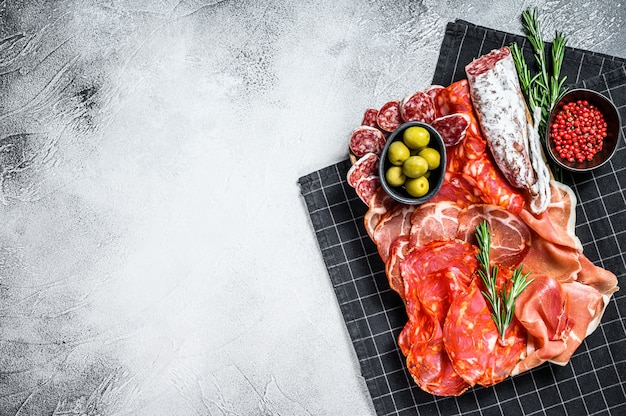 Spanish cold meat assortment.