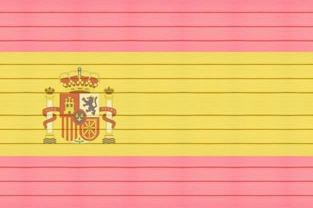 木製のテクスチャの背景にスペイン語の旗