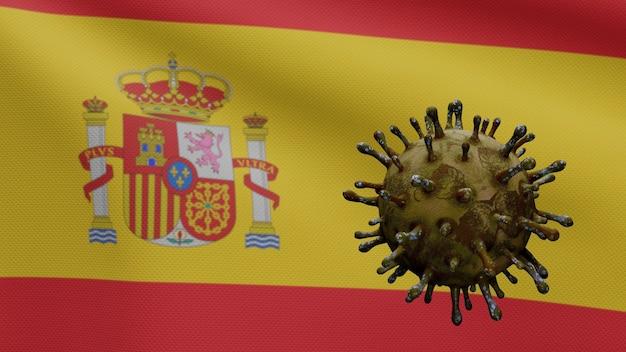 스페인 깃발을 흔들며 코로나 바이러스 2019 ncov 개념. 스페인에서 아시아에서 발생하는 코로나 바이러스 인플루엔자는 전염병과 같은 위험한 독감 균주 사례입니다. 현미경 바이러스 covid19가 가까이