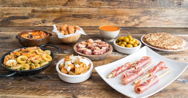 Spanish food plates mixed