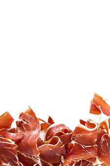 스페인 햄 (jamon) 수직 성분. 메뉴 레스토랑 템플릿 디자인, 텍스트를위한 공간