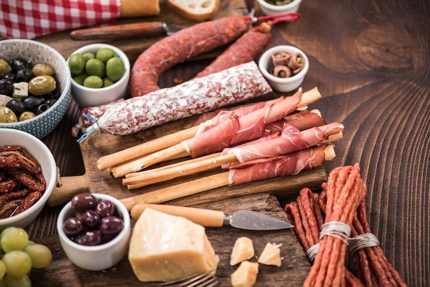 Spanish meat selection on wooden table