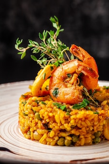 Spanish paella with seafood.
