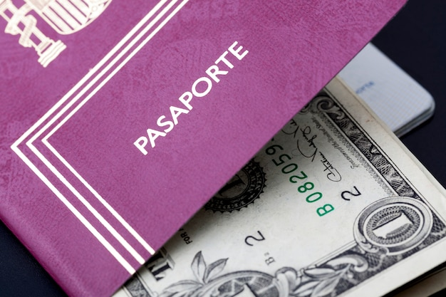 Spanish passport with money dollars