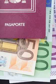 Spanish passport with money euros