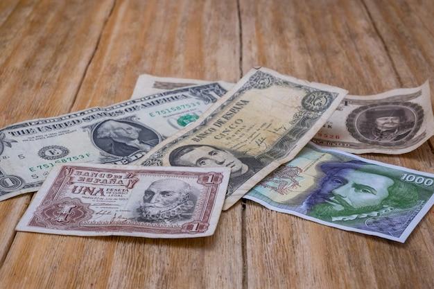 Spanish pesetas bills, us dollar and hungarian forint