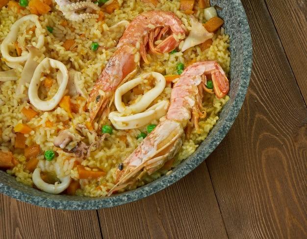 Spanish seafood paella de marisco, paella marinera