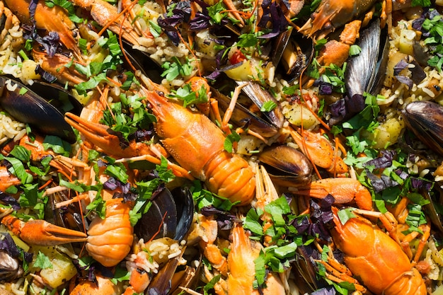 Spanish seafood paella with prawns mussels and rayfish