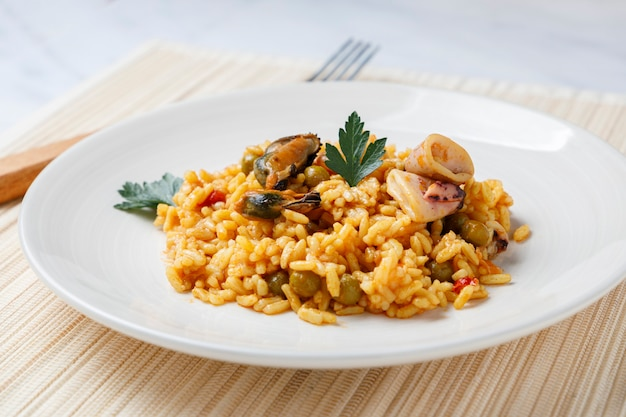 Spanish seafood and vegetable paella