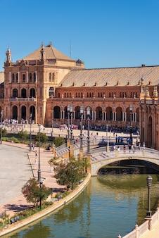 Spanish square plaza de espana in sevilla in a beautiful summer day, spain.