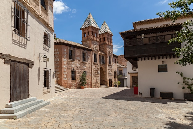 Spanish street view. typical empty spanish street with old architecture.