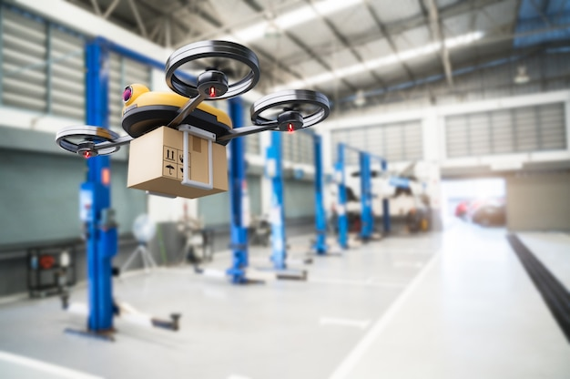 Spare part delivery drone at garage storage in leading automotive car service center