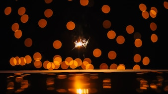 Sparkler and spots of light