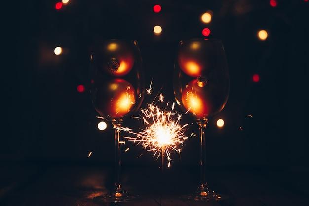Sparklers on dark