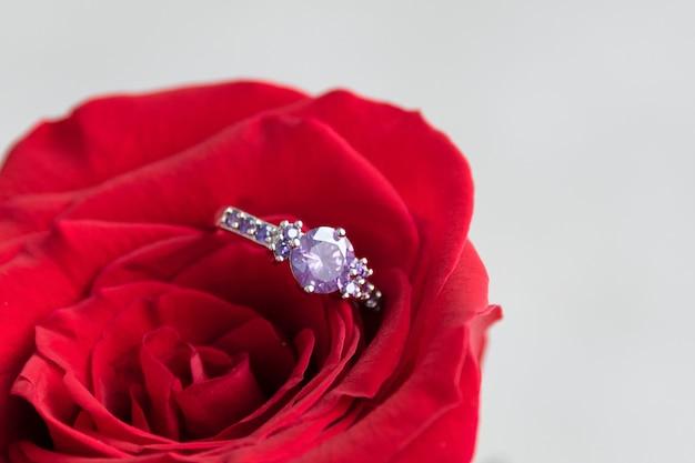 赤いバラの中に輝く婚約指輪。バレンタインデーのロマンチックギフト。結婚提案のコンセプトです。