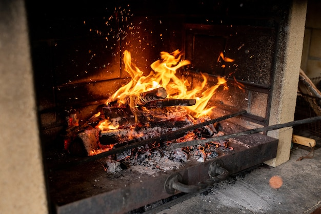 Sparkling firewood burning inside fireplace of contemporary country house to make those who live there warm and comfortable