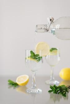 Газированная минеральная вода с нарезанным лимоном и свежими листьями мяты