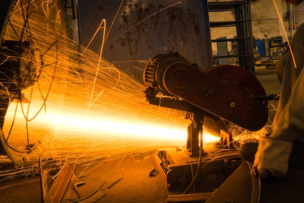 Sparks while grinding iron