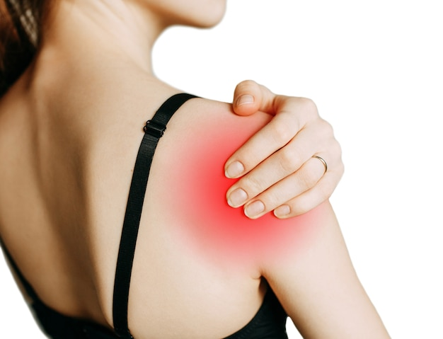 A spasm on the girls shoulder shoulder and joint injuries and fatigue at work the zone of injury
