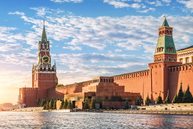 Spasskaya tower, mausoleum and walls of the moscow kremlin
