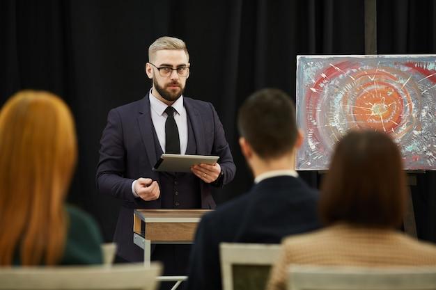Speaker performing the audience