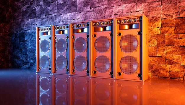 Speaker system on a black background in blue and orange lighting, 3d illustration
