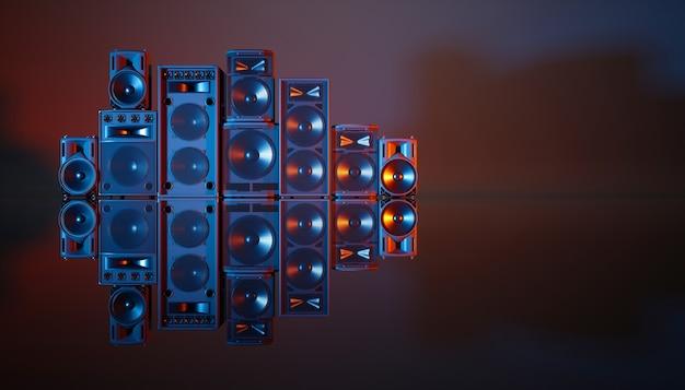 파란색과 주황색 조명, 3d 일러스트에서 검정색 배경에 스피커 시스템