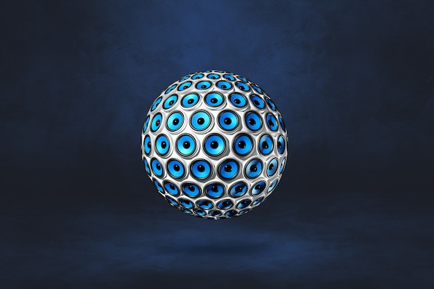 Speakers sphere isolated on a dark blue studio background. 3d illustration