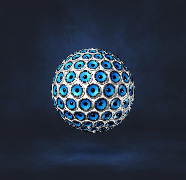어두운 파란색 스튜디오 배경에 고립 된 스피커 구.