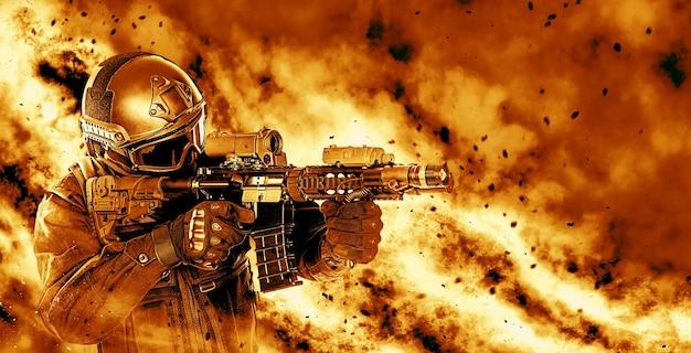Офицер спецназа спецназа в черной форме с винтовкой пробирается сквозь огонь. студия снята на черном фоне. концепция нападения полиции