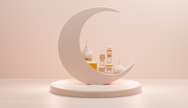Специальный дизайн 3d-иллюстраций для рамадана и ид
