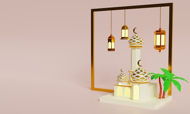 Special 3d illustration design for ramadan and eid