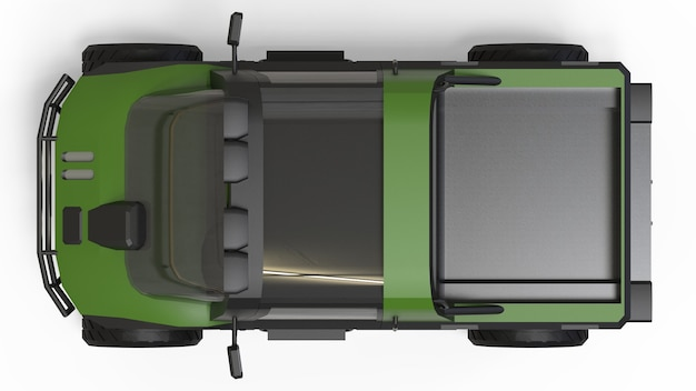 험난한 지형과 험난한 도로 및 기상 조건을 위한 특수 전지형 차량. 3d 렌더링.