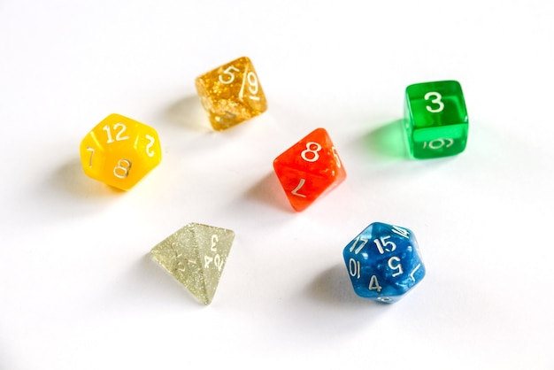 Special colorful dices group for role playing games.