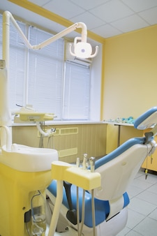 Special equipment for a dentist, dentist office not a new doctor's office, side view. medicine,