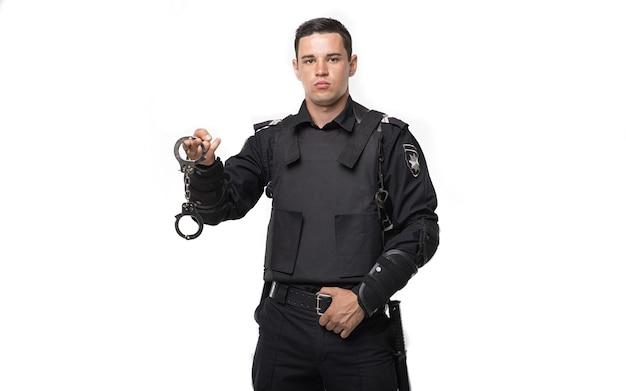 Special force soldier holds handcuffs
