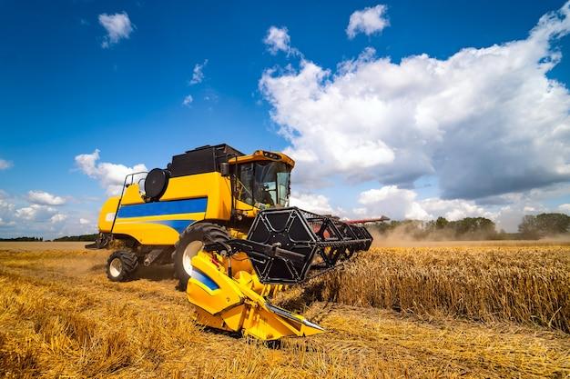 畑で作物を収穫する特別な機械