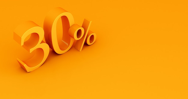 Special offer 30% discount tag, sale up to 30 percent off, yellow thirty percent on a colored background. 3d render